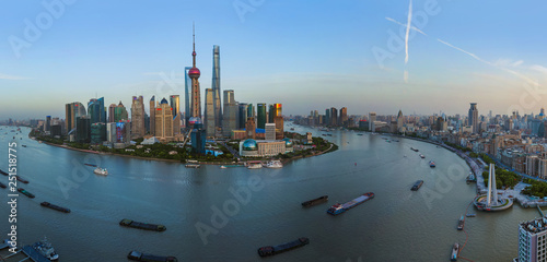 Photo Stands Shanghai Shanghai, China - May 23, 2018: Sunset view of the modern Pudong skyline in Shanghai, China