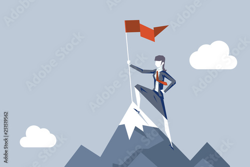 Fotografía Woman conquering heights flag businesswoman conqueror female character achieveme