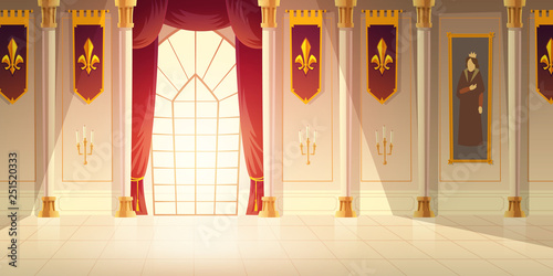 Leinwand Poster Medieval castle ballroom, historical museum hall cartoon vector background