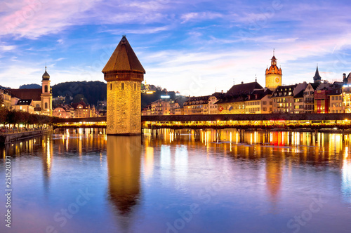Valokuva  Luzern Kapelbrucke and riverfront architecture famous Swiss landmarks view