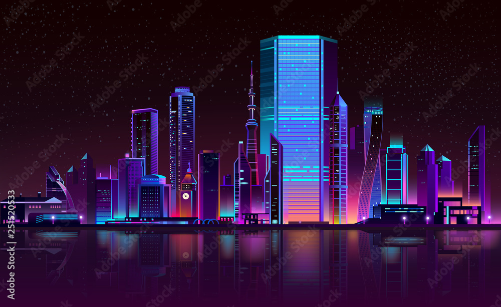Fototapeta Modern metropolis night landscape in fluorescent, neon colors cartoon vector with illuminated futuristic architecture skyscrapers buildings on city bay shore illustration. Urban cyberpunk background