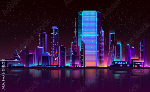 Modern metropolis night landscape in fluorescent, neon colors cartoon vector with illuminated futuristic architecture skyscrapers buildings on city bay shore illustration. Urban cyberpunk background