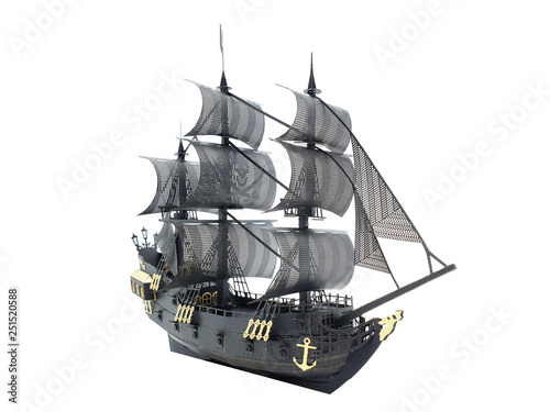Gold and Black Color Ship Classic Model with Pirate Flag Symbol in White Isolated Background