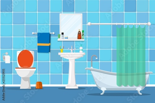 Photo Interior of a bathroom with a toilet and accessories for washing and taking a shower