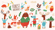 Big Vector Set Of Cartoon Forest Animals.
