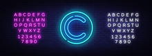 Copyright Neon Sign Vector. Copyrights Design Template Neon Sign, Light Banner, Neon Signboard, Nightly Bright Advertising, Light Inscription. Vector Illustration. Editing Text Neon Sign