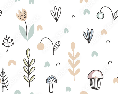 plakat Vector seamless pattern with hand drawn berries, plants, flowers, mushrooms.