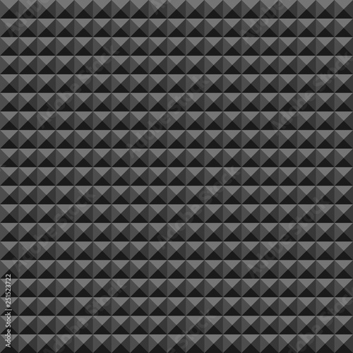 Fotografia, Obraz  Acoustic foam rubber wall pattern, Dark seamless background with pyramid and triangle texture for sound studio recording, Vector illustration