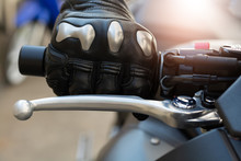 Close Up Of Throttle Control Hand And Brake Lever Motorcycle,