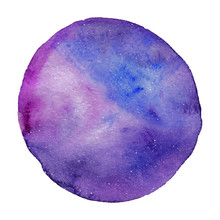 Big Violet Watercolor Circle, Hand Drawn Watercolor Spot Of Round Shape, Blue, Violet, Pink And Purple Colors, Vector Illustration Isolated On A White Background