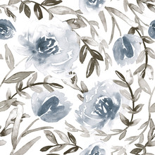 Watercolor Flowers In Dusty Blue And Taupe. All Over Pattern.