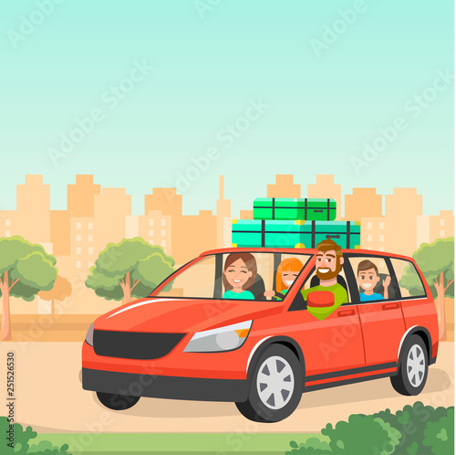 The family goes by car with suitcases. Travelling by car with children. Red  family car. A trip out of town. Father, mother and children traveling by  car. Vector illustration. - Buy this