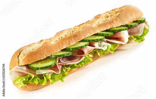 In de dag Snack baguette sandwich with ham and cucumber