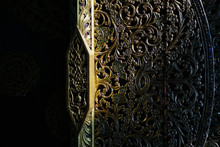 Architectural Details. Close-up Detail Shot Of Traditional Thai Art On The Entrance Door Of Blue Temple In Chiang Rai.
