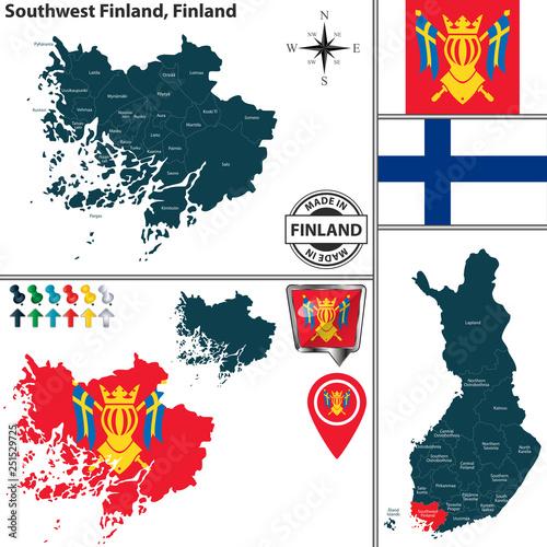 Fotografie, Obraz  Map of Southwest Finland, Finland