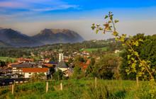 Bavarian Village With Mountain...
