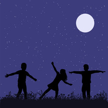 Isolated, Silhouette Children In The Park, Friendship
