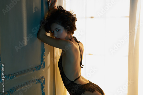 fototapeta na ścianę beautiful woman in sexy lingerie pose in home interior