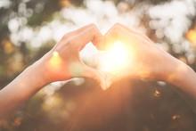 Female Hands Heart Shape On Na...