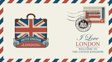 Vector Postcard Or Envelope With Suitcase In Colors Of UK Flag And Inscription I Love London. Retro Postcard With Postmark In Form Of Royal Coat Of Arms And Postage Stamp With Double Decker London Bus