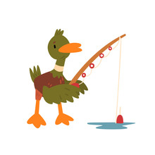 Male Mallard Duck Fishing With Fishing Rod, Cute Funny Duckling Cartoon Character Vector Illustration