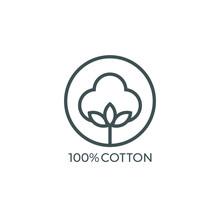 100% Cotton Icon. Vector Illus...