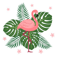 Flamingos With Palm Leaves And...