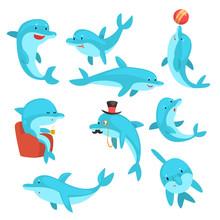 Cute Dolphins Set, Cartoon Sea Animal Characters Swimming, Jumping, Playing Vector Illustration