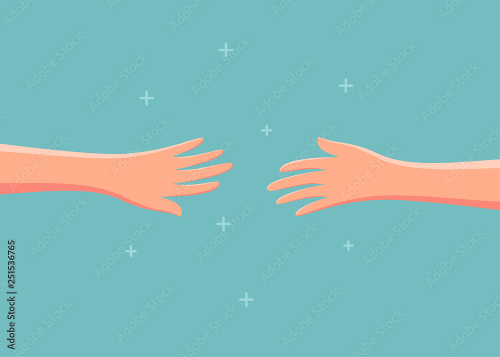 Fototapeta Two hands reaching out to each other. Vector illustration