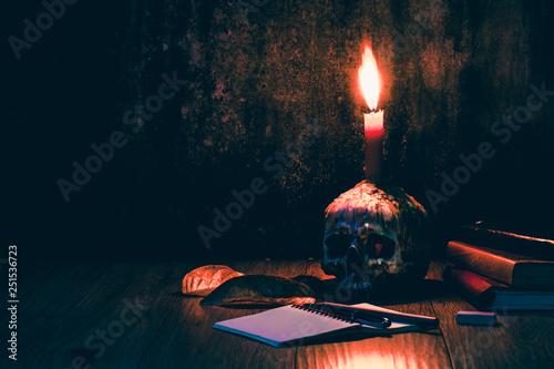 Fotografie, Tablou  Skulls books pens and candles