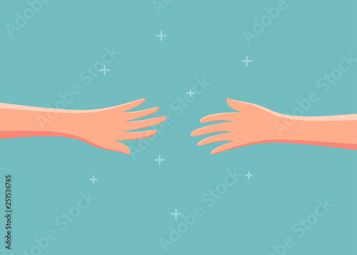 Obraz Two hands reaching out to each other. Vector illustration - fototapety do salonu