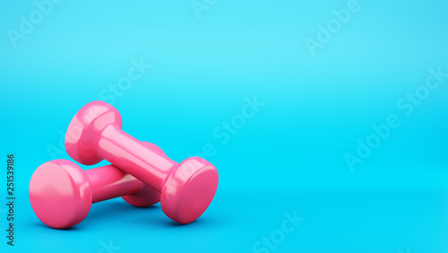 pink dumbbells isolated on blue background. 3d illustration Obraz na płótnie