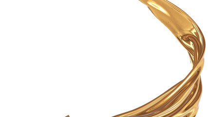 Abstract Luxurious of liquid gold on a White background. 3d illustration