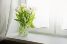 Bouquet Of White Tulip On Windowsill. Copy Space.