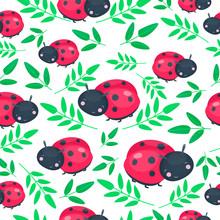 Red Ladybug Seamless Pattern. Happy Animal. Vector Illustration, Cartoon Baby Style.