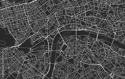 Fotografie, Obraz Black and white vector city map of London