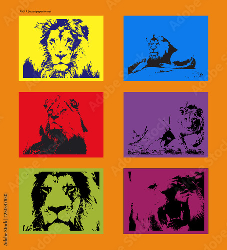 Vector poster with traced lion figures in style of Andy Warhol Wallpaper Mural
