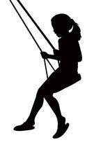 Girl Swinging Silhouette Vector