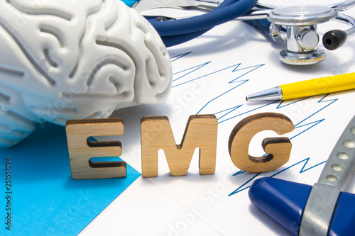 EMG medical abbreviation of electromyography concept, medical diagnostic research, which measures electrical impulses of muscles Wallpaper Mural