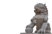 Lion Statue Made Of White Jade