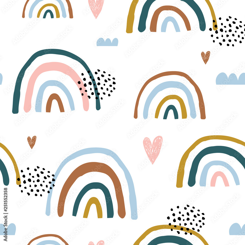Fototapety, obrazy: Seamless childish pattern with hand drawn rainbows and hearts, .Creative scandinavian kids texture for fabric, wrapping, textile, wallpaper, apparel. Vector illustration