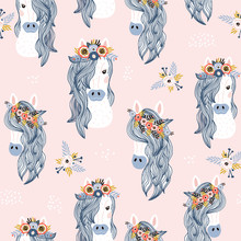 Seamless Childish Pattern With Adorable Horses . Creative Scandinavian Kids Texture For Fabric, Wrapping, Textile, Wallpaper, Apparel. Vector Illustration