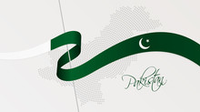 Wavy National Flag And Radial Dotted Halftone Map Of Pakistan