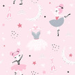 Childish seamless pattern with cute hand drawn ballerina dancing on the moon in scandinavian style. Creative vector childish background for fabric, textile