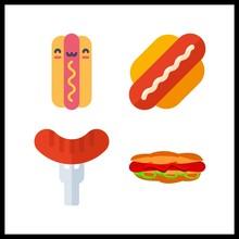 4 Hotdog Icon. Vector Illustration Hotdog Set. Hot Dog Icons For Hotdog Works