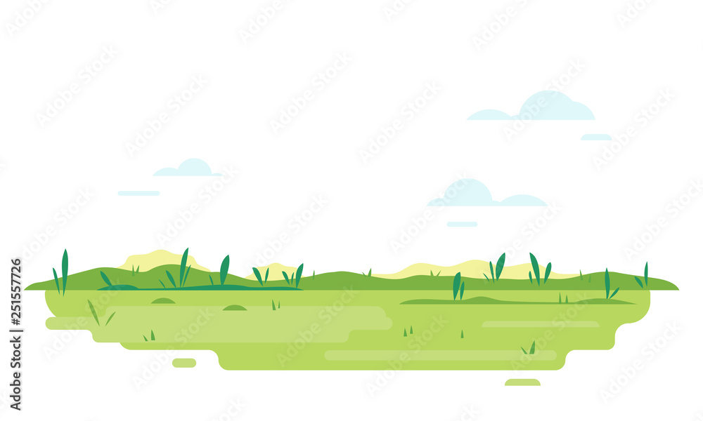 Fototapeta Green lawn with glass in flat style, summer day travel illustration