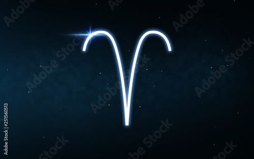Photo astrology and horoscope - aries sign of zodiac over dark night sky and stars bac