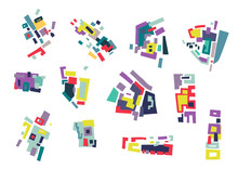 Vector Set Of Abstract Geometric Shapes, Blocks Based On City Map