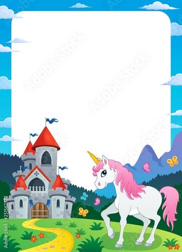 Unicorn near castle theme frame 3