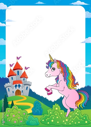 Unicorn near castle theme frame 4